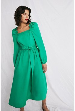 Green Cotton Poplin Midi Dress With Square Neck