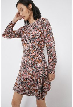 Pink Floral Belted Mini Flippy Dress