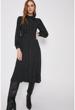 Black Spot Print Pintuck Front Midi Shirt Dress