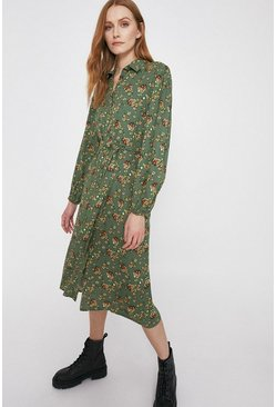 Green Floral Tie Waist Midi Shirt Dress
