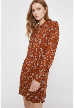 Rust Floral Gathered Mini Shirt Dress