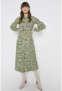Green Printed Flared Midi Shirt Dress