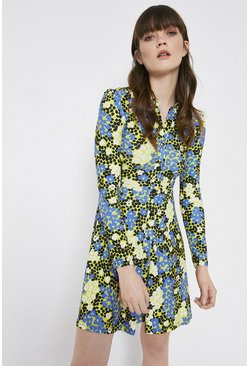 Yellow Printed Flared Short Shirt Dress