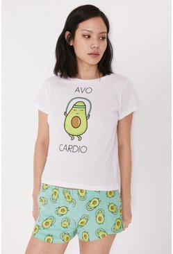 Green Avocado Print Pyjama Shorts Set