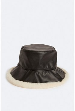 Black Faux Leather Bucket Hat