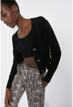 Black Stitchy Cropped Cardigan