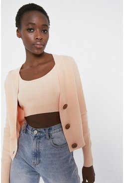Pink Stitchy Cropped Cardigan