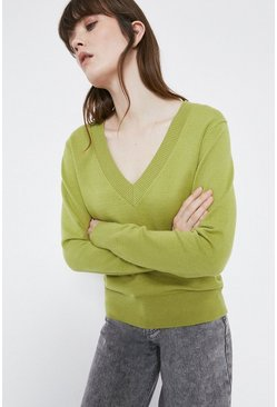 Green Oversized V Neck Jumper