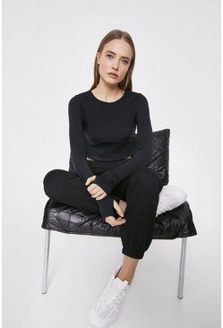 Black Cropped Long Sleeve Panelled Active Top