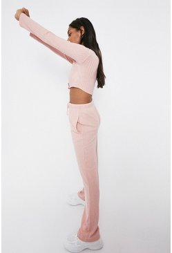 Pink Ribbed Lounge Top And Trouser Set