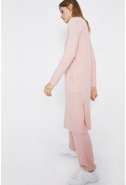 Pink Ribbed Lounge Longerline Cardigan