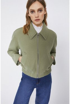 Sage Zip Through Bomber Jacket