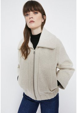 Oatmeal Oversized Collar Zip Through Bomber