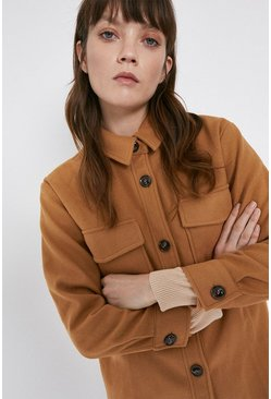 Tan Faux Wool Overshirt