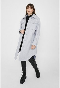 Grey Long Line Shacket
