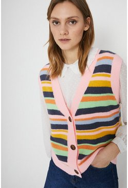 Multi Cosy Stripe Button Through Vest