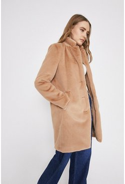 Camel Single Breasted Fur Coat