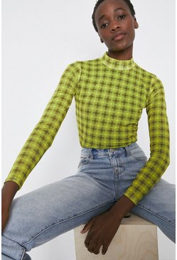 Yellow Funnel Neck Mesh Top