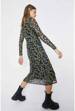 Black Roll Neck Printed Dress
