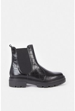 Black Leather Seamed Chunky Croc Boot