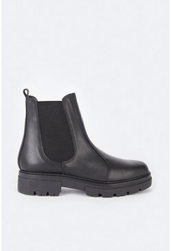 Black Leather Seamed Chunky Boot