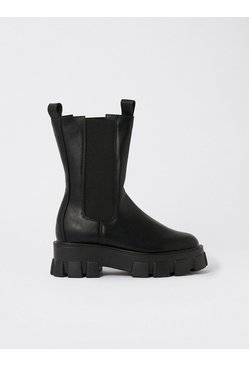 Black Chunky Calf Length Pull On Boot