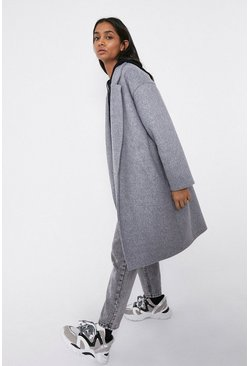 Grey Unlined Single Breasted Coat