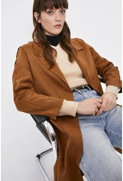 Tan Suedette Duster Coat