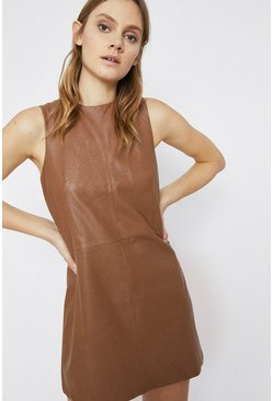 Tan Faux Leather Shift Dress