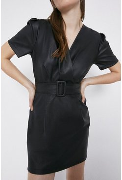 Black Faux Leather Puff Sleeve Wrap Belted Dress