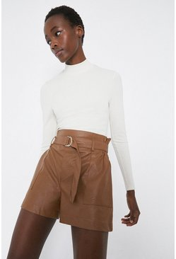 Tan Faux Leather D-Ring Short