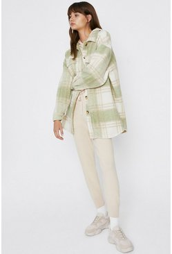 Sage Check Button Through Coat