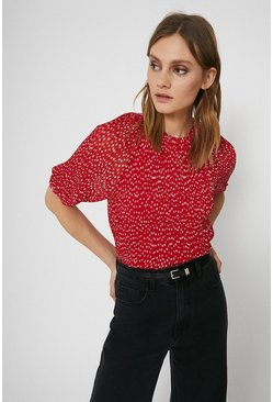 Red Pin Spot Balloon Sleeve Top