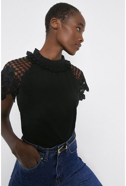 Black Lace Sleeved Shell Top
