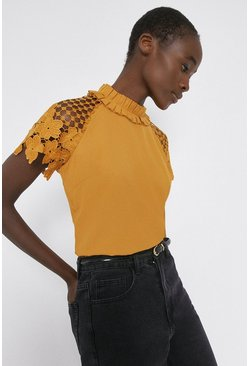 Mustard Lace Sleeved Shell Top