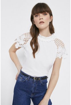 White Lace Sleeved Shell Top