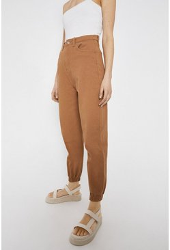 Tan Elasticated Cuff Cargo Jeans