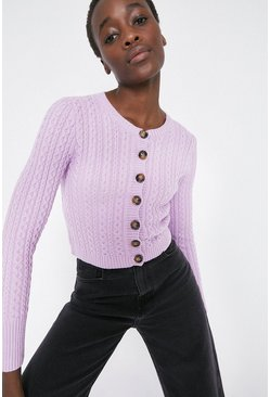 Lilac Cosy Stitch Detail Crew Neck Cardigan