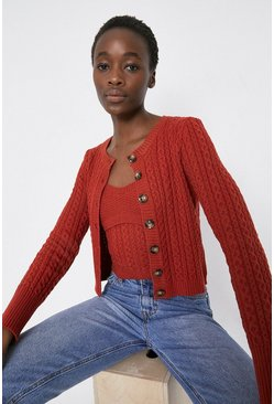 Rust Cosy Stitch Detail Crew Neck Cardigan