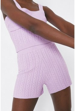 Lilac Cosy Stitch Knitted Shorts