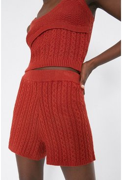 Rust Cosy Stitch Knitted Shorts