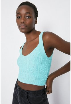 Mint Cable Stitch Knitted Cropped Vest