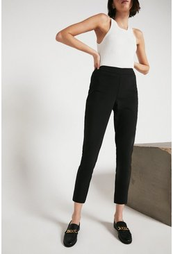 Black Premium Cotton Sateen Cropped Trousers