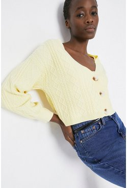 Lemon Cable Stitch Boxy Cardigan