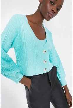 Mint Cable Stitch Boxy Cardigan