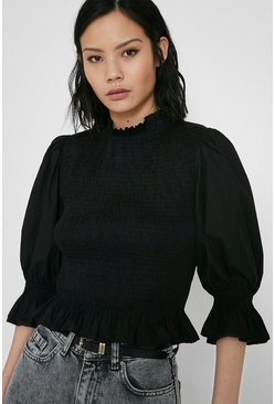 Black Smocked Bodice Puff Sleeve Top