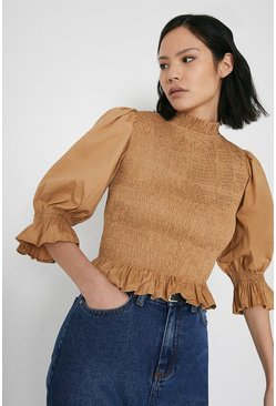 Camel Smocked Bodice Puff Sleeve Top