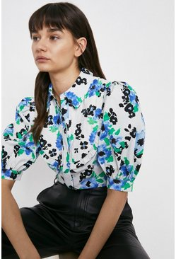 Blue Quilted Bib Floral Blouse