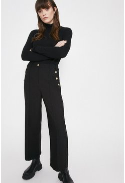 Black Twill Wide Crop Trouser With Gold Button