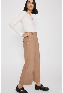 Camel Twill Wide Crop Trouser With Gold Button